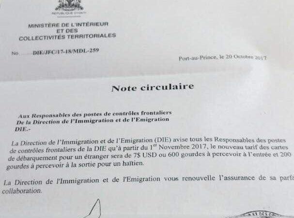 Haïti/Politique: Un nouveau tarif est fixé pour le débarquement d'un étranger en Haïti.