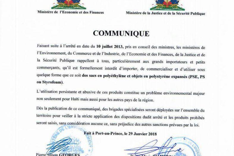 Haïti-Environnement: interdiction de commercialiser les produits en polyéthylène et Styrofoam