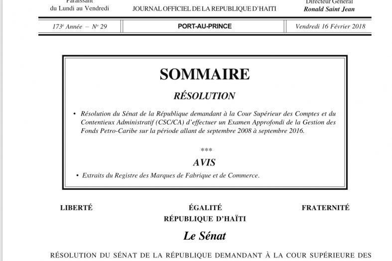 Affaire Petrocaribe : Publication de la résolution du sénat dans Le Moniteur