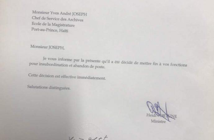 Yves André Joseph révoqué pour insubordination et abandon de poste