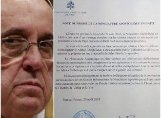 """""""Le pape François ne visitera pas Haïti"""", dément la nonciature apostolique"""