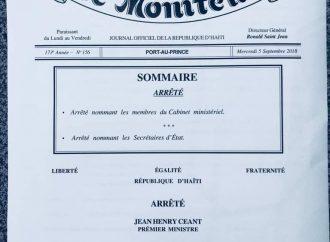 Publication de l'arrêté nommant les membres du nouveau cabinet ministériel, 6 ministres reconduits