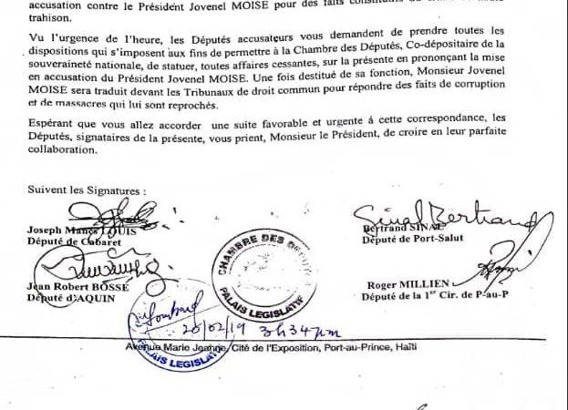 14 députés formulent une demande de mise en accusation de Jovenel Moïse