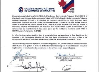 ADIH, AMCHAM, CCI Haïti, CCIHC, CFHCI quittent le CAOSS