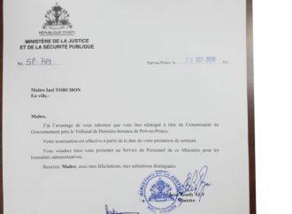 Inel Torchon nommé commissaire du gouvernement de Port-au-Prince