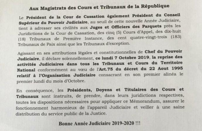 Annulation de la cérémonie officielle marquant la réouverture des tribunaux