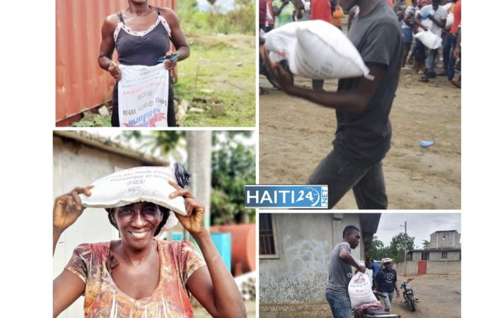 Distribution de kits alimentaires par le FAES dans trois départements
