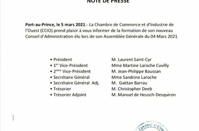 La Chambre de Commerce et d'Industrie de l'Ouest a un nouveau conseil d'administration