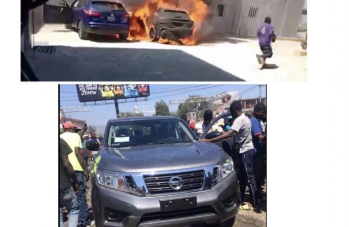 Incendie et scène de pillage à Universal Motors sur la route de l'aéroport